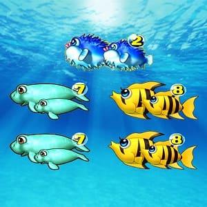 海物語リーチ目、2・7・8の親子図柄目