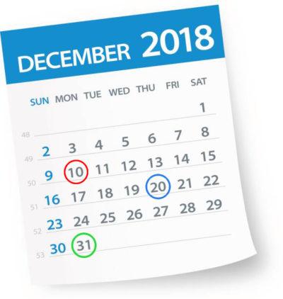 2018年カレンダー出る日、出ない日