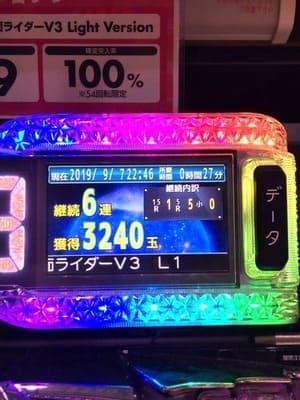 甘デジ仮面ライダーV3 6連チャン